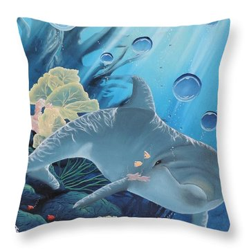 Throw Pillow featuring the painting Smiley by Dianna Lewis