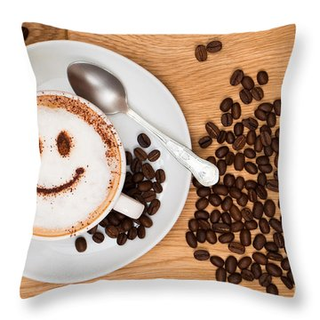 Smiley Face Coffee Throw Pillow