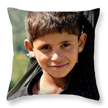 Throw Pillow featuring the photograph Smiling Boy In The Swat Valley - Pakistan by Imran Ahmed
