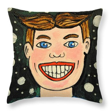 Smiling Boy Throw Pillow
