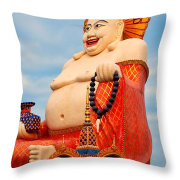smiling Buddha Throw Pillow by Adrian Evans