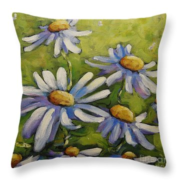 Smiling Daisies By Prankearts Throw Pillow