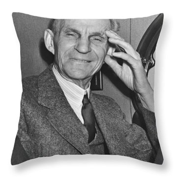 Smiling Henry Ford Throw Pillow by Underwood Archives