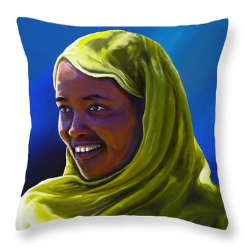 Throw Pillow featuring the painting Smiling Lady by Anthony Mwangi