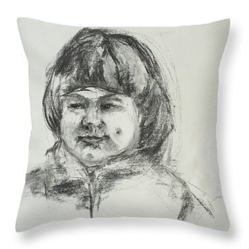 Smiling Little Girl With Dimples Throw Pillow by Barbara Pommerenke