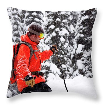 Smiling Male Skier On A Snowy Landscape Throw Pillow
