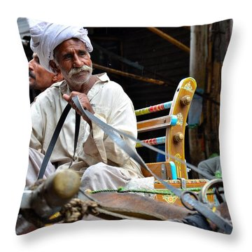 Smiling Man Drives Horse Carriage In Lahore Pakistan Throw Pillow