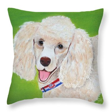 Throw Pillow featuring the painting Smiling Poodle - Pet Portrait by Shelia Kempf