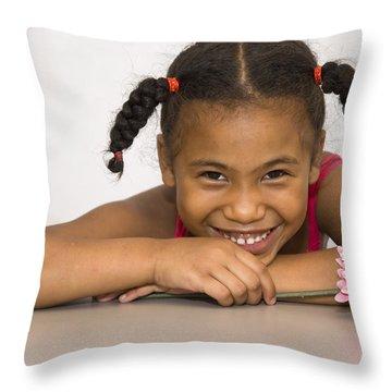Smiling Pretty Throw Pillow by Carolyn Marshall
