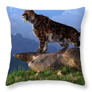 Smilodon Fatalis Throw Pillow by Daniel Eskridge