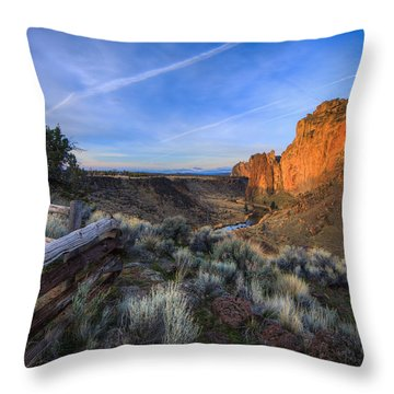 Smith Rock At Sunrise Throw Pillow by Everet Regal