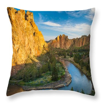 Smith Rock River Bend Throw Pillow by Inge Johnsson