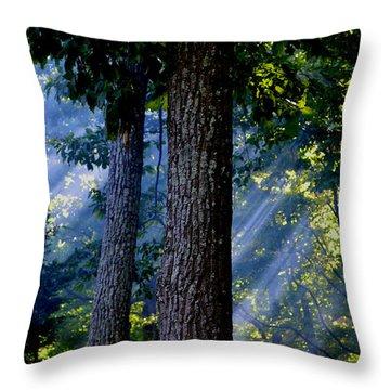 Smoke Through The Trees Throw Pillow by Carlee Ojeda