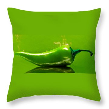 Aaron Berg Photography Throw Pillow featuring the photograph Smoke'n Hot Green Pepper  by Aaron Berg