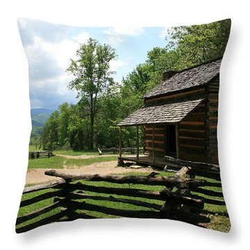 Smoky Mountain Cabin Throw Pillow by Marty Fancy
