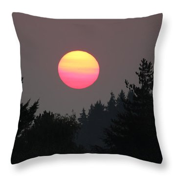 Throw Pillow featuring the photograph Smokey Sunrise by E Faithe Lester