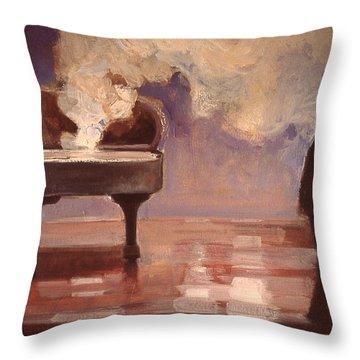 Smokin Piano Throw Pillow by Emily Gibson