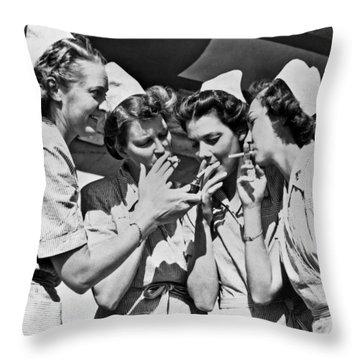 Smoking Army Nurses Throw Pillow