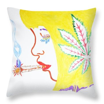 Throw Pillow featuring the painting Smoking Blonde by Stormm Bradshaw