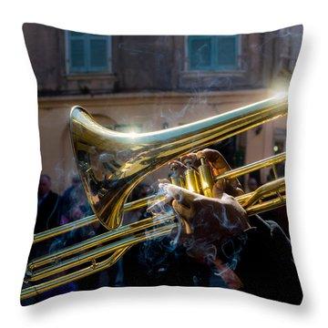 Smoking Hot Trombone Throw Pillow