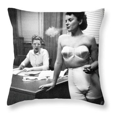 Smoking Lingerie Model Throw Pillow