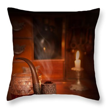 Smoking Pipe Throw Pillow by Amanda Elwell