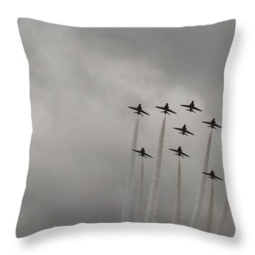 Throw Pillow featuring the pyrography Smoking Planes by Tracey Williams