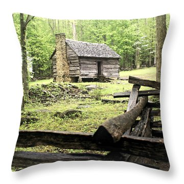 Smoky Homestead Throw Pillow by Marty Koch