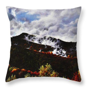 Smoky Mountain Angel Hair Throw Pillow