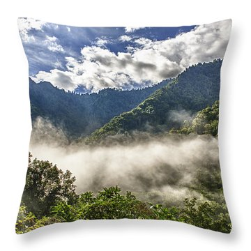 Smoky Mountain Chimney Tops Throw Pillow