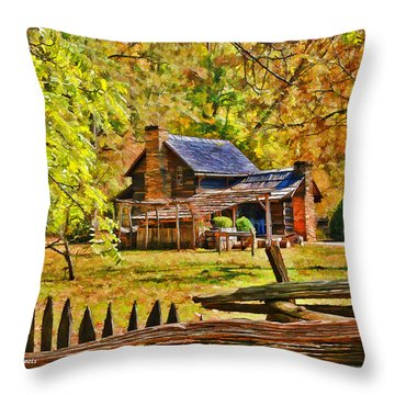 Smoky Mountain Homestead Throw Pillow by Kenny Francis