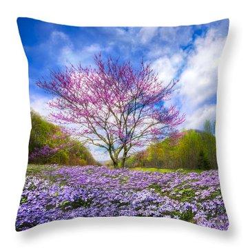 Smoky Mountain Spring Throw Pillow by Debra and Dave Vanderlaan