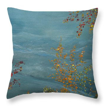 Throw Pillow featuring the painting Smoky Mountains In Autumn by Judith Rhue