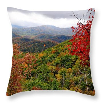 Smoky Mountains In The Fall Throw Pillow