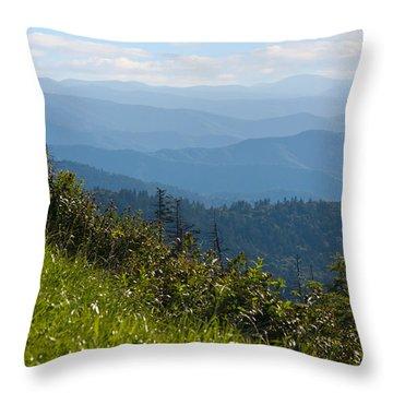 Smoky Mountains View Throw Pillow by Melinda Fawver