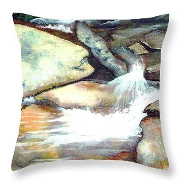 Smoky Mountains Waterfall Throw Pillow by Patricia Griffin Brett