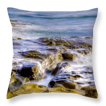 Smoky Rocks Of La Jolla Throw Pillow