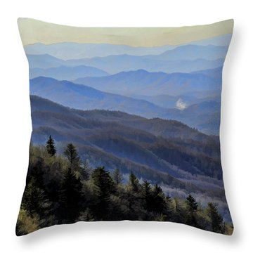Throw Pillow featuring the photograph Smoky Vista by Kenny Francis