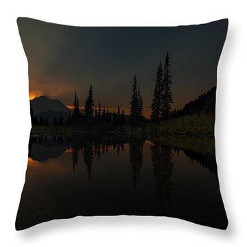 Smoldering Rainier Throw Pillow by Mike Reid