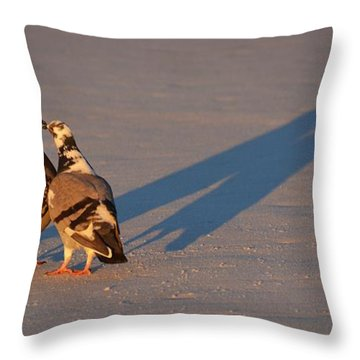Smooching Love Birds Throw Pillow