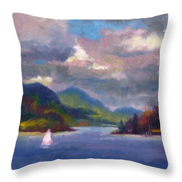 Smooth Sailing Sailboat On Alaska Inside Passage Throw Pillow