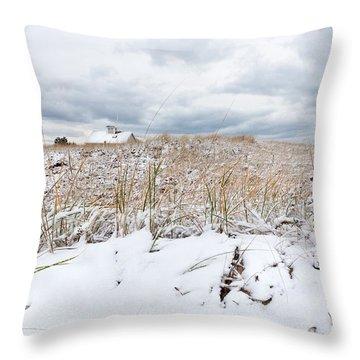 Smuggler's Beach Snow Cape Cod Throw Pillow by Michelle Wiarda