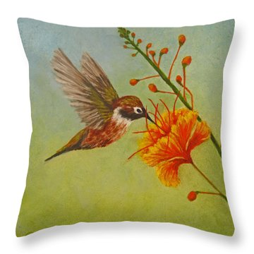 Throw Pillow featuring the painting Snack Time by Roseann Gilmore