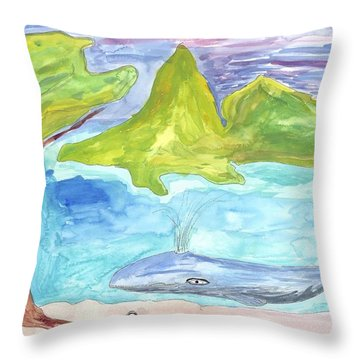 Snail And Whale Throw Pillow by Helen Holden-Gladsky