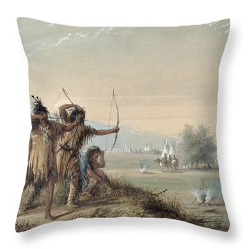 Snake Indians Testing Bows Throw Pillow by Alfred Jacob Miller