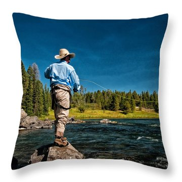 Snake River Cast Throw Pillow by Ron White