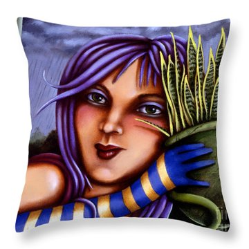 Throw Pillow featuring the painting Snake Snakeplant by Valerie White