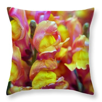 Throw Pillow featuring the photograph Snapdragons by Cassandra Buckley