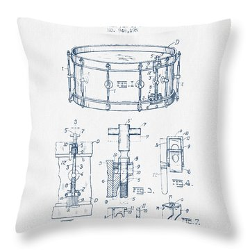 Snare Drum Patent Drawing From 1910  - Blue Ink Throw Pillow