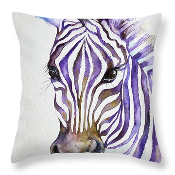 Snazzy_ Purple Stripes Throw Pillow